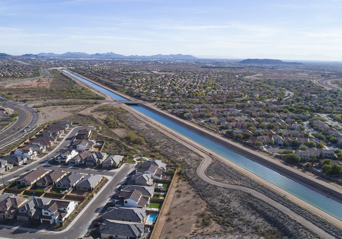 Aerial views of the Central Arizona Project (CAP) Canal, near Dixileta Avenue and I17, Phoenix, AZ 12/14/16