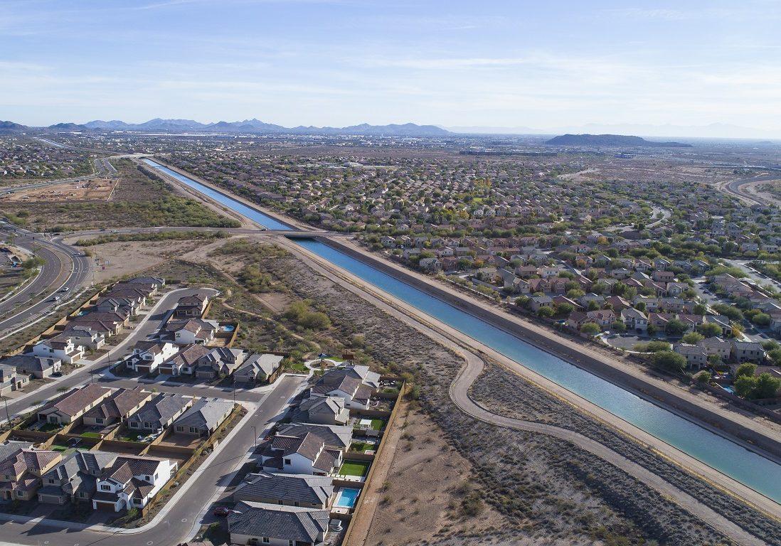 Aerial views of the Central Arizona Project (CAP) Canal, near Dixileta Avenue and I17, Phoenix, AZ 12/14/16
